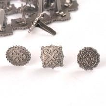10pcs Silver Round Square Vintage Brads For DIY Scrapbooking Accessories Crafts Handmade Metal Fastener Brad Home Decor c2576