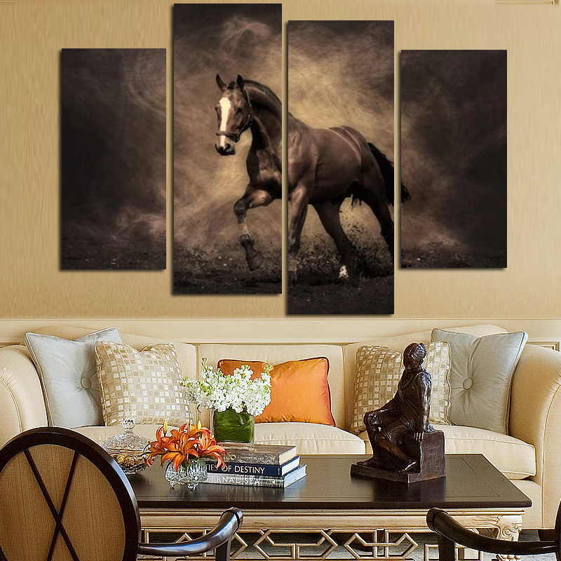 4Panel Large Running Horse Modern oljemålning HD Print på Canvas Modular Wall Pictures Wall Art Cuadros Decor for Living Room