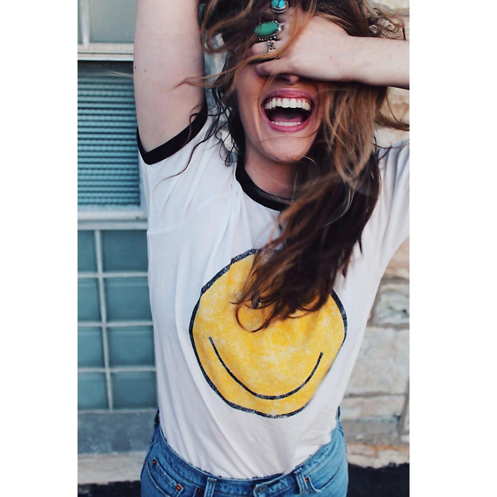 Emoji Graphic Smiley Face T Shirt Women Summer Aesthetic Grunge Tumblr Feminist Friends Vegan Vintage White Kawaii Cute Tops