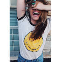 Emoji Graphic Smiley Face T Shirt Women Summer Aesthetic Grunge Tumblr Feminist Friends Vegan Vintage White Kawaii Cute Tees