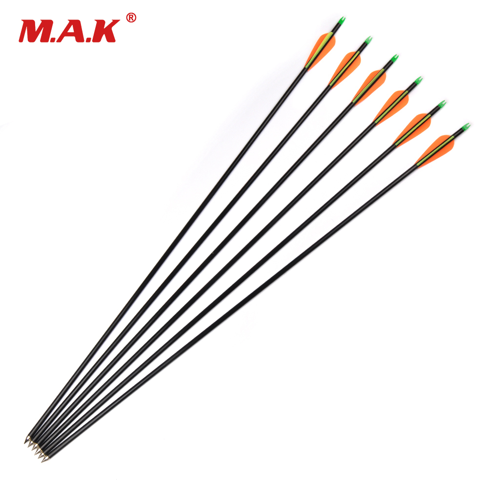 12/24/36 pcs Fiberglass Arrow Length 82cm Diameter 8mm Spine 500 for Compound Bow Archery Hunting Target Shooting