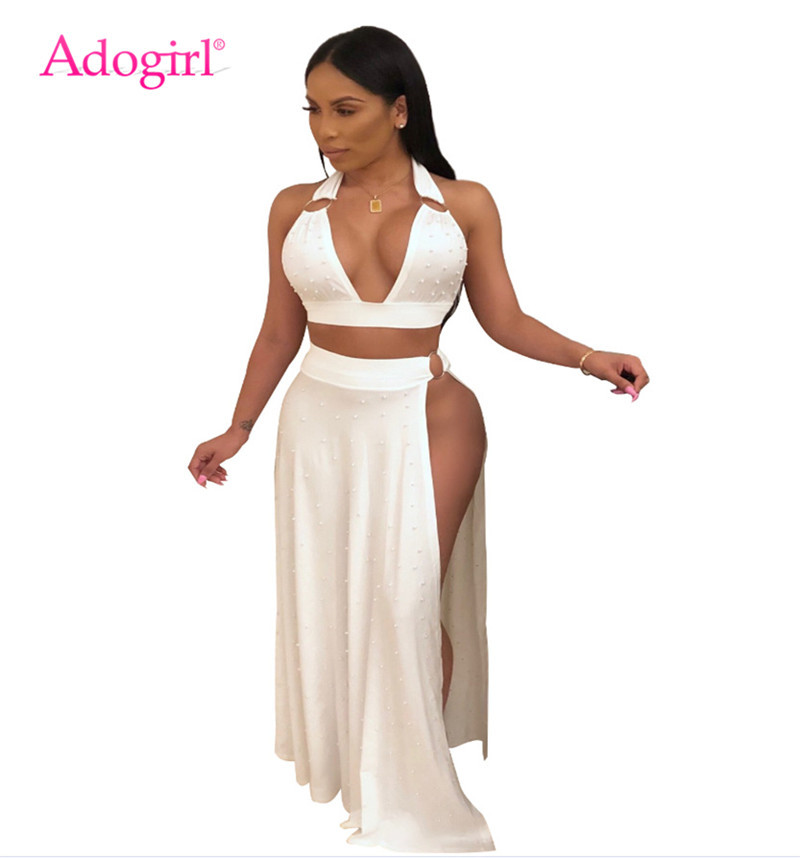 Adogirl Pearls Accent Women Sexy Two Piece Set Deep V Neck Halter Bra Top Side High