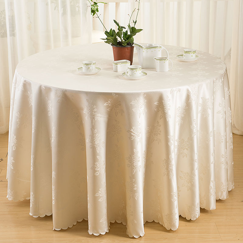 jacquard nappe ronde nappes polyester tissu couverture de table nappes pour banquet de mariage. Black Bedroom Furniture Sets. Home Design Ideas