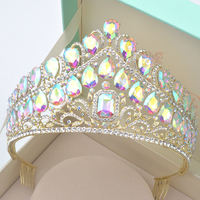 Luxury Vintage silver AB Wedding Crown Alloy Bridal Tiara Baroque Queen King Crown Gold Color Rhinestone half round Tiara Crown