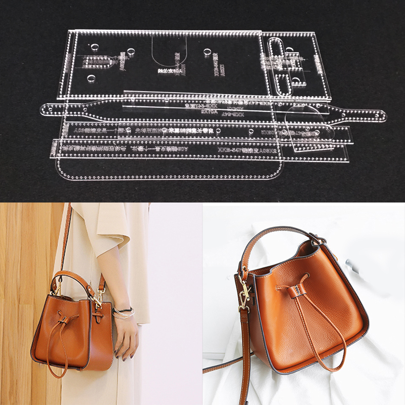 Acrylic Stencil Laser Cut Template DIY Leather Handmade Craft Shoulder Bag Sewing Pattern 220x190x100mm
