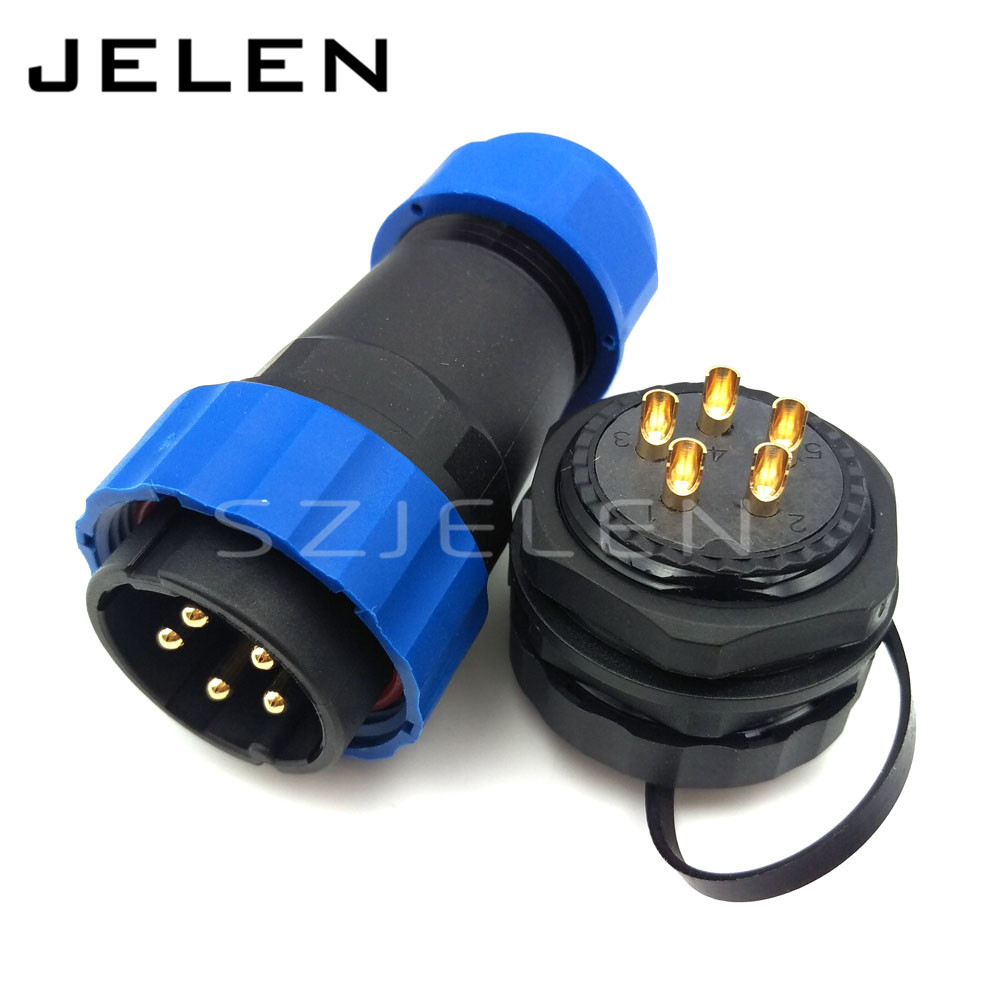 SD28TP-ZM, Waterproof dustproof connectors ,IP67, 8-15mm Cable Connectors 5Pin Battery Connector, 5 Pin Sealed Auto Waterproof