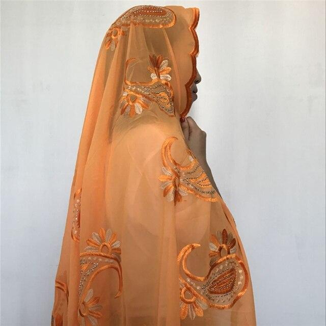 ARANCIONE! 2018 Beautiful african ricamo musulmano sciarpa delle donne, di alta qualità e materiale morbido, sciarpa scialli
