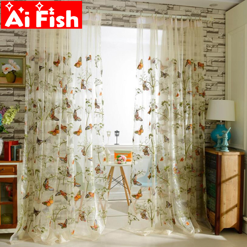 Pastoral High Grade Organza Embroidered Fabric Butterfly Gauze door window curtain for living room luxury bedroom decoration #15|door curtain track|curtains com|curtain pipes - title=