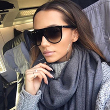 PAWXFB 2019 New Oversized Square Sunglasses Women Men Brand Designer Black Sun Glasses Female UV400