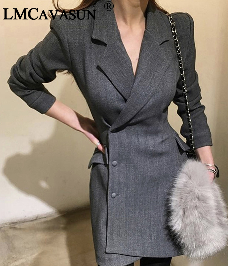 d628ec410d2a LMCAVASUN 2018 New Euro Fashion Women Plaid Party Blazer Dress Elegant Dress  Suit Casual Long Sleeve