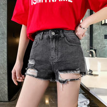 2019 New Spring And Summer Hole Middle Waist Denim Shorts Loose Slim Jean Shorts Fashion Sexy Tassel Wide Leg Hot Shorts D27(China)