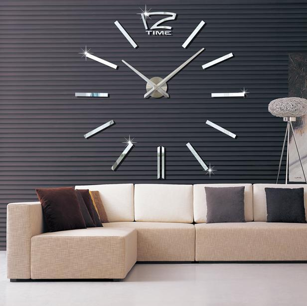 2017 3D Real Big Wall Clock Rushed Mirror Sticker Diy Living Room Decor Fashion Watches Quartz Clocks Digital Large Wall Clock