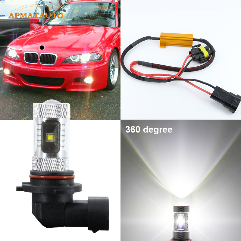 2 x  Canbus  No Error 9006 HB4  Super Birght  Projector LED Fog Lights  Bulb For BMW 5-Series 2003-2007 E60 1piece 20w 9005 hb3 9006 hb4 6000k no error led fog light drl bulb projector lens 12 24vdc