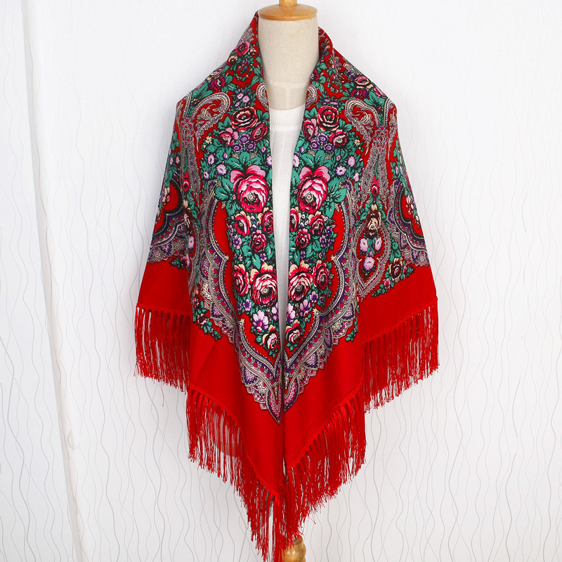 Red Women Printing Russia Style National Designs With Four Sides Tassel Large Squar Shawl Scarf Oversize Wrap 135CM*135CM 03