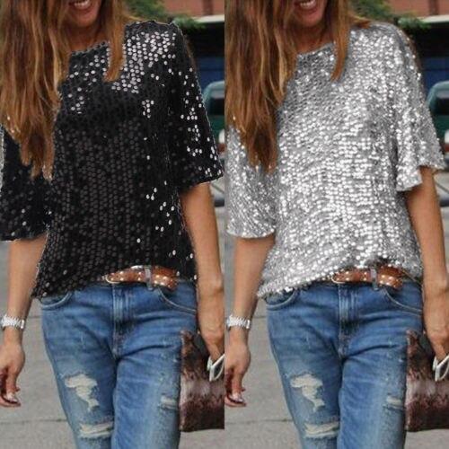 Ladies Glistening Sequined T Shirt Tops Summer Half Sleeve Black Silver Slim Tee Shirt Tops Women Hot Clothes