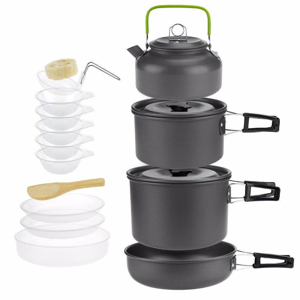 3-5 personnes Camping ustensiles de cuisine en plein air vaisselle ensemble randonnée pique-nique sac à dos Camping vaisselle Pot casserole bol