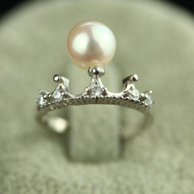 High end genuine fresh water pearl rings Austrian Crystal crown Shape Wedding rings bijoux women