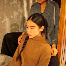 2017 new mori girl Autumn and winter regular sleeve turtleneck design fashion and high quality medium long sweater