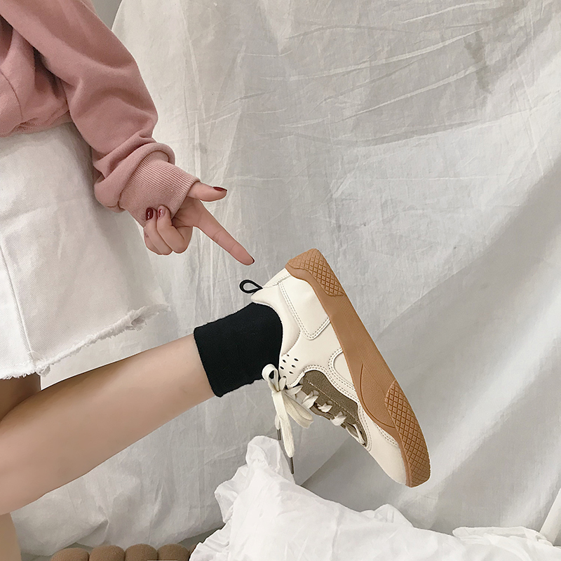 2019 Women Sneakers Leather Hook Loop All Match Female Casual Shoes Concise Style Lady White Shoes Students New Fashion 35-39 23