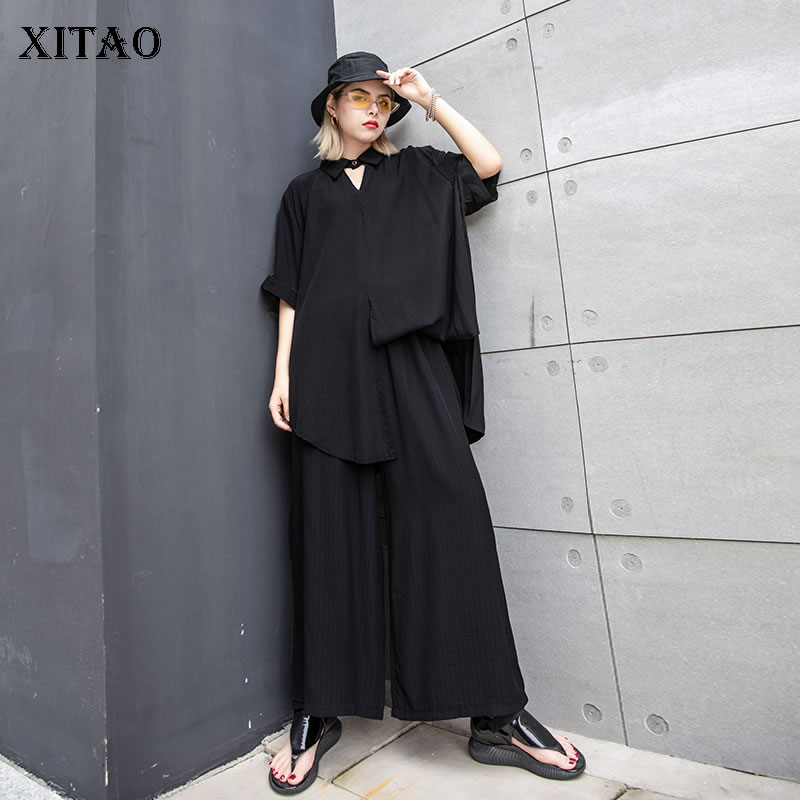 [XITAO] 2019 New Europe Casual Top Short Sleeve Turn-down Collar Solid Color Bottom Elastic Waist Full Length Pants  ZLL3623