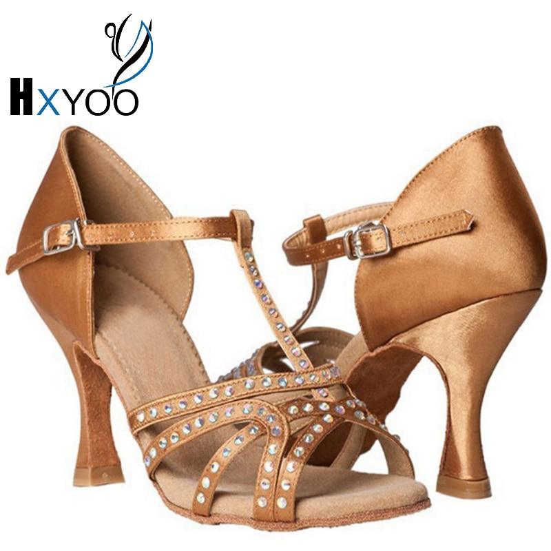 HXYOO Ladies Rhinestone Latin Ballroom Dance Shoes Soft Sole Salsa Satin Shoes for Dancing Brown&Black&Blue&Red GM011