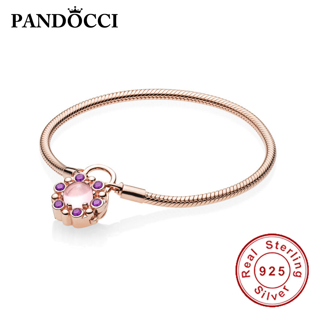 PANDOCCI 100% 925 Sterling Silver New 587635NPM ROSE MOMENTS HERALDIC RADIANCE BRACELET WITH PADLOCK CLASP Factory WholesalePANDOCCI 100% 925 Sterling Silver New 587635NPM ROSE MOMENTS HERALDIC RADIANCE BRACELET WITH PADLOCK CLASP Factory Wholesale
