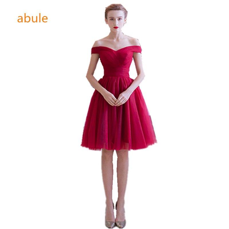 short beautiful teenage bridesmaid dress dark red satin teens ...