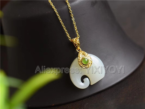 925 Sterling Silver White HeTian Jade Carved Cute Elephant Design Lucky Pendant + Chain Necklace Charm Fine Jewelry Charm Gift