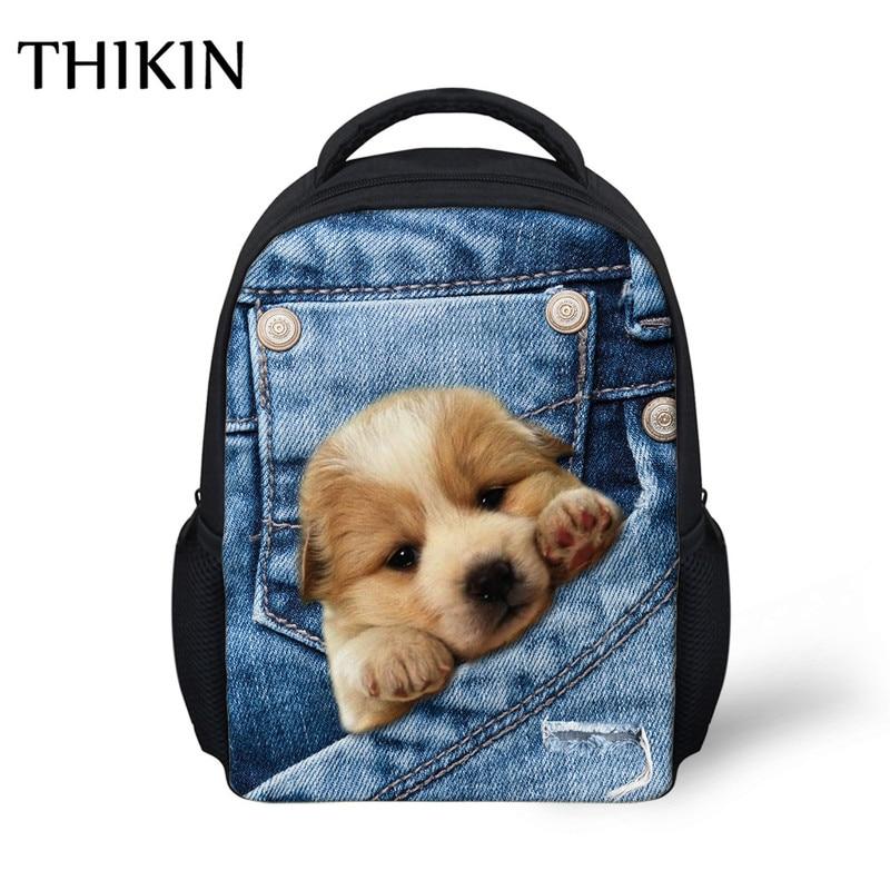 899b481c8861 US $13.99 30% OFF|THIKIN Kids Bag Kawaii 3D Cowherd Dog Printing School  Bags for Boys Girs Kindergarten Children Bookbag Plecak Animals Satchel-in  ...