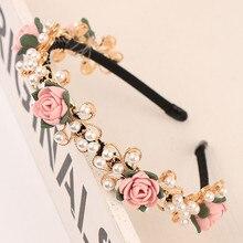 New Arrival Lady's Handmade Fashional Korean Style Diamante Flowers Beading Hairbands Women Hair Accessory