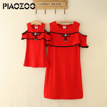 hot deal buy family matching outfits 2018 summer fashion solid off shoulder outfits mother and daughter dress  striped red  clothes set p20
