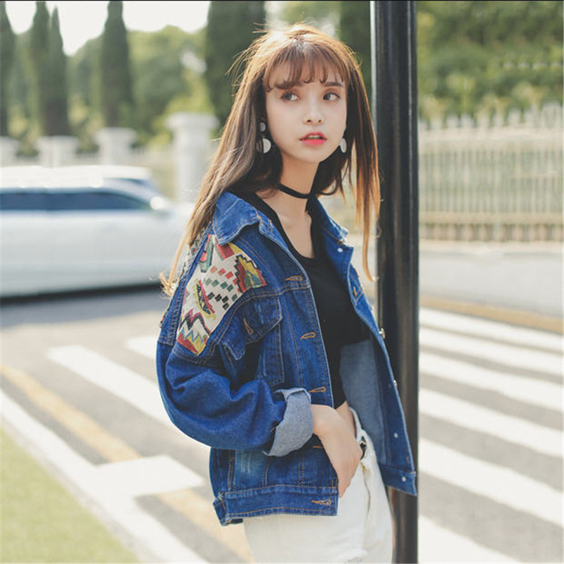 2018 New Fashion Jeans Jacket Women National Embroidery Patchwork Loose Denim Jacket Short Jackets Outerwear Female A1373