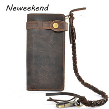 NEWEEKEND 6018 Retro Genuine Leather Crazy Horse Long Hasp Waist Rope Card Cash Phone Holder Purse Wallet Handbag for Man