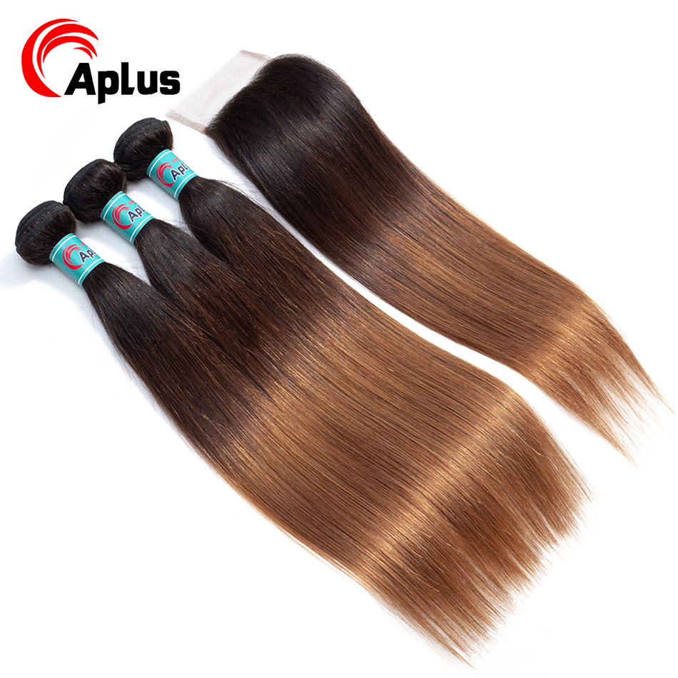 Aplus T1B/4/30 3 Tone Ombre Hair With Closure 100% Human Hair Pre-colored Malaysian Hair Bundles With Closure Straight Non Remy