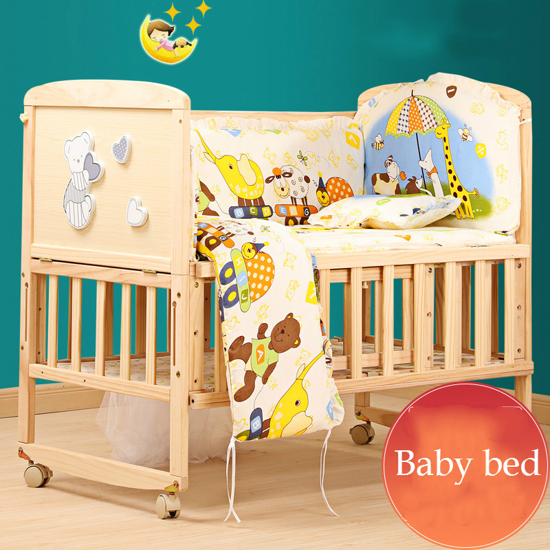 Solid Wood Baby Bed Multifunction Eco-friendly Pine Infant Crib Child Cradle Game Bed With Trolley Changeable Desk Bed Linings