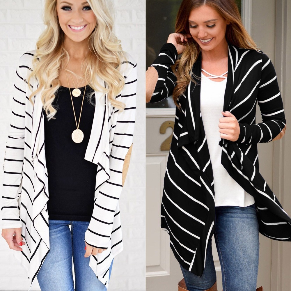 Office Lady Coat Women Black White Striped Patchwork Cardigan   Trench   Cotton OL Coats Female Outerwear Loose Casual Women Tops