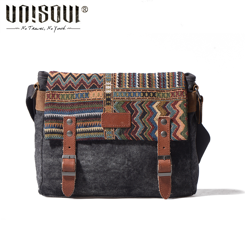 UNISOUL Original Canvas Man Travel Bag National Totem Bag Fashion Men Messenger Bag font b Handbags