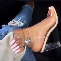 2017 New Brand PVC Women Sandals Sexy Clear Transparent Ankle Strap High Heels Party Sandals Women