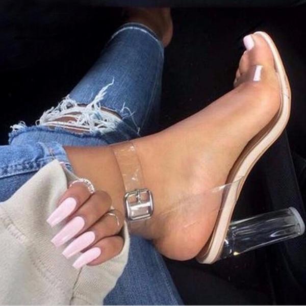 2017 New Brand PVC Women Pumps Sexy Clear Transparent Ankle Strap High Heels Party Sandalias Women Shoes Sapatos
