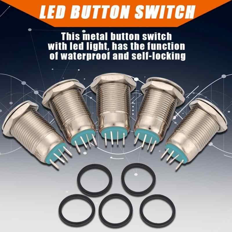 5 Pcs/set 12 Mm 2A/36 V LED Logam Tahan Air 4Pin Mini Saklar Tombol Tekan Biru/Merah/ kuning/Hijau Opsional
