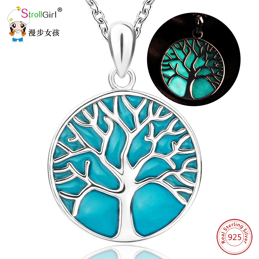 Strollgirl Glowing Tree of Life Pendants & Necklaces For Women luminous Tree 925 Sterling Silver Chain Necklace Fashion Jewelry цена
