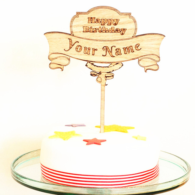 Personalised Custom Name Happy Birthday Cake Topper Wooden Wood Rustic Decoration