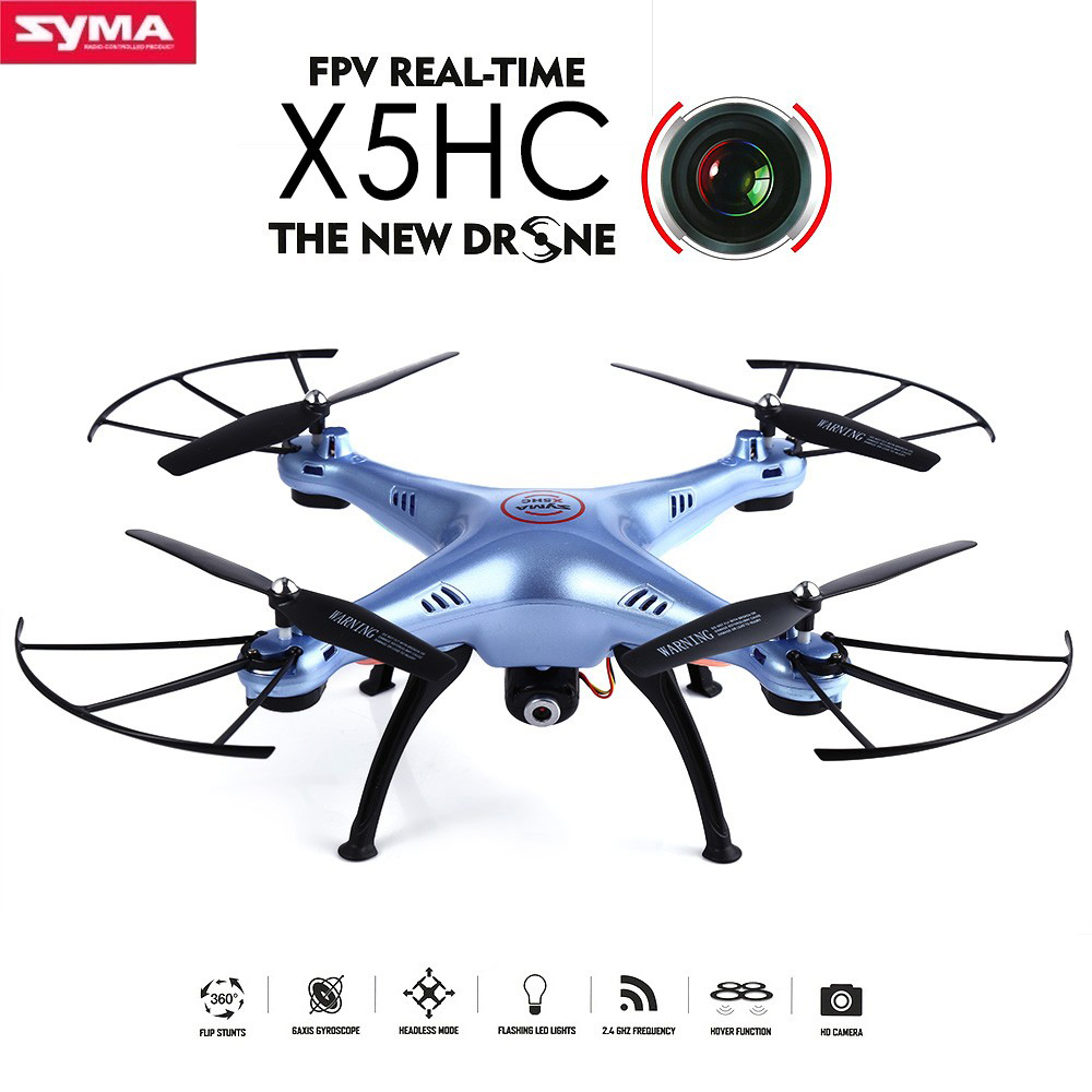 Original SYMA X5HC RC Quadcopter with Camera 2MP HD FPV 2.4GHz 6 Axis 4CH Headless Mode RC Drone Helicopter SYMA X5SC Upgraded syma x5sw 4ch 2 4ghz 6 axis rc quadcopter with hd camera hovering headless mode rc drone 1200mah battery prop 4pcs motor 2pcs