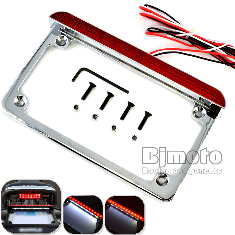 BJMOTO Universal Motorcycle 4'' X 7'' 12V Number License Plate Holder Frame Bracket LED Tail Light for Harley Suzuki Yamaha smaart v 7 new license