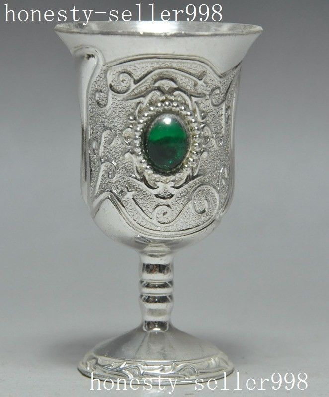 China Chinese Metal Mosaic Gem Wine Goblet Wineglass Cup Wine Vessel