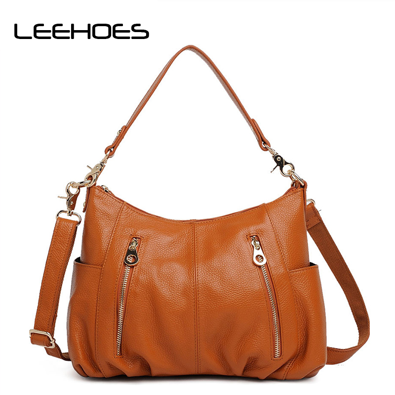 Casual Women Hobo Bag Soft Genuine Cow Leather Shoulder Bags Lady Large Tote Shopping Handbag Bucket 2018 new arrival soft cow leather bucket bag fashion designer women shoulder bag large capacity genuine leather women handbag