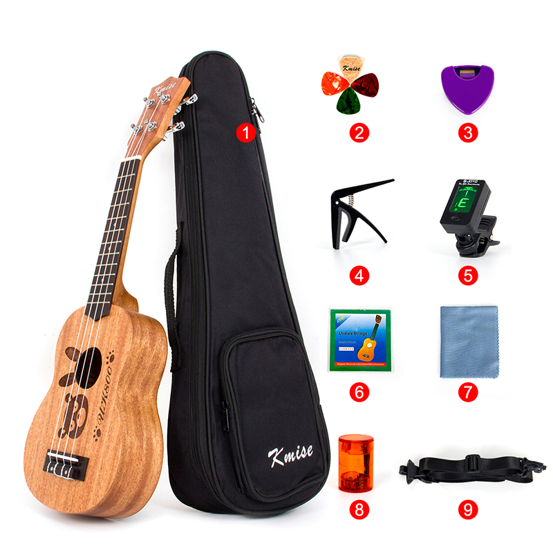 Kmise Soprano Ukulele Mahogany Ukelele Uke 21 inch with Gig Bag Tuner Strap String Capo Sand Shaker Cleaning Cloth Beginner Kit 26 inch mahogany soprano ukulele combo bass guitar guitarra musical instrument set for beginner with kit strap bag picks string