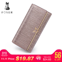 FOXER Brand Women Split Leather Wallets Female Clutch bag Fashion Coin holder Luxury Purse for Lady Women's Long wallet