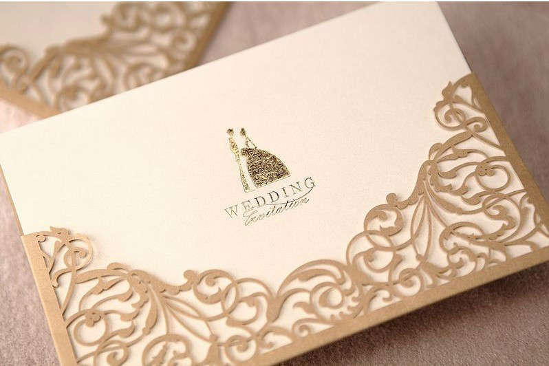 50pcs FREE SHIPPING Champagne Gold Vine Damask Flower Wedding Invitation  Card Cover Only,NO Inner