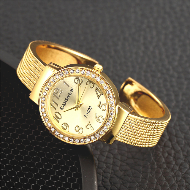 Fashion Stainless Steel Golden Bracelet Bangle Women Watches Luxury Rhinestone W